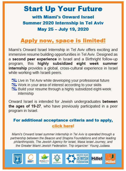 Miami's Onward Israel 2020 Summer Internship in Tel Aviv