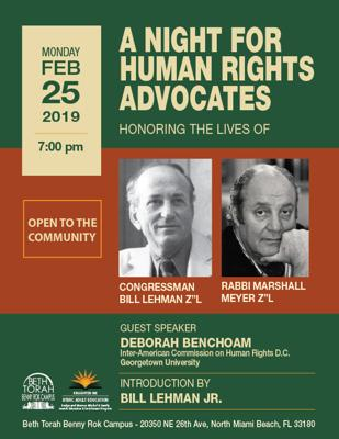 A Night for Human Rights Advocates at Beth Torah Benny Rok Campus
